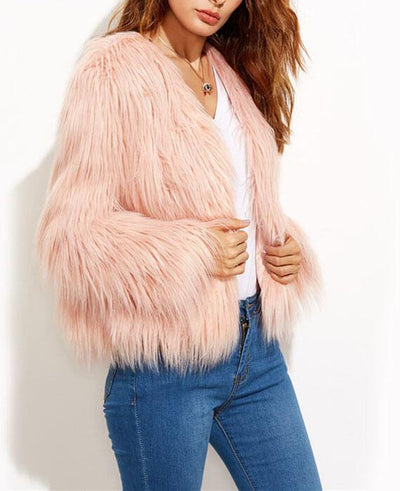 Faux Fur Long Sleeve Pink Jackets-4