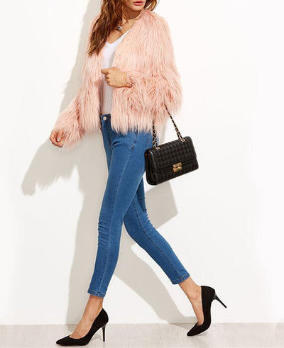 Faux Fur Long Sleeve Pink Jackets-5