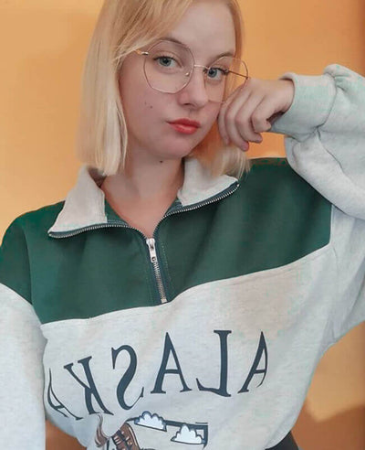 Fleece Half Zipper Vintage Sweatshirt