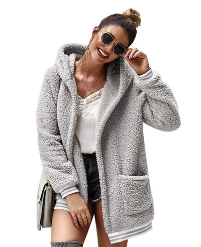 Fleece Hooded Fuzzy Jacket-11