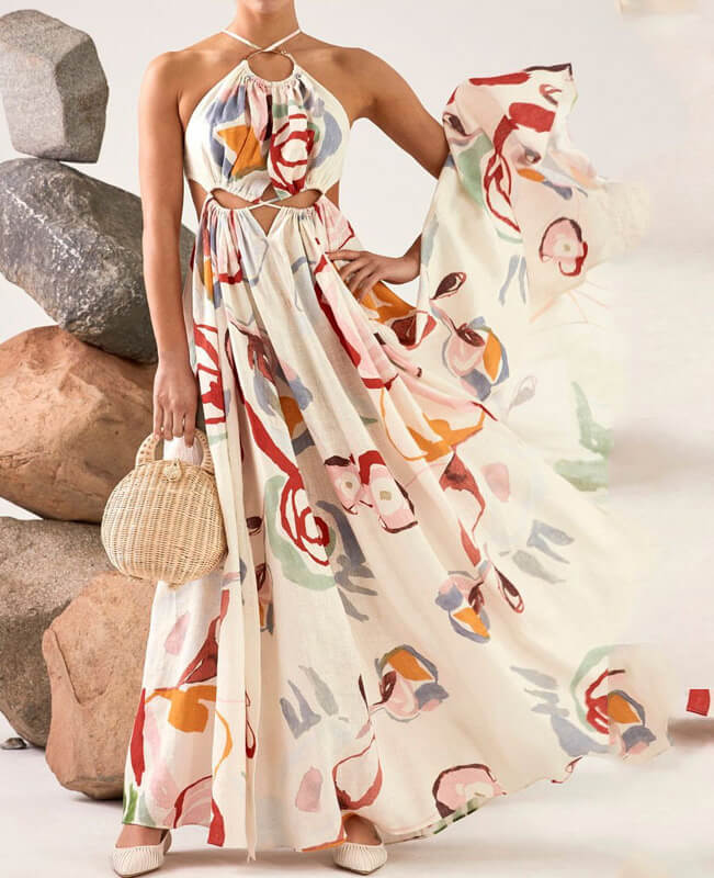 Off Shoulder Dresses Floral High Waist Maxi Dresses