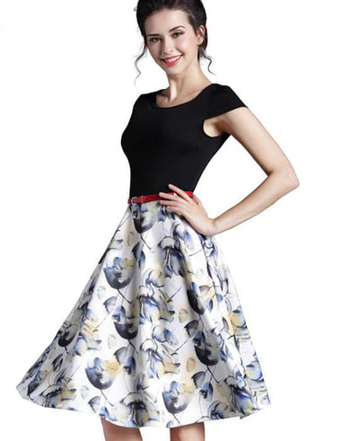 Floral Print O-Neck Sleeveless Zipper Dress