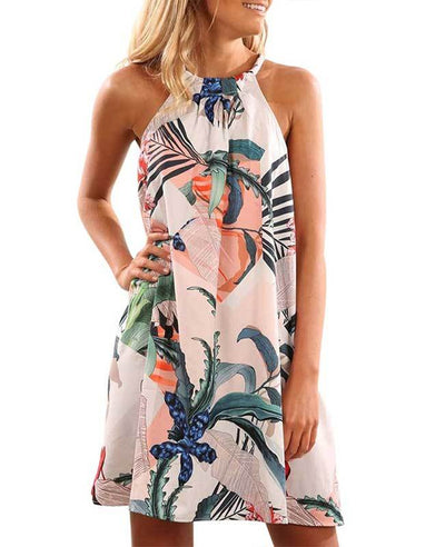 Floral Print Sleeveless Mini Halter Dress-1