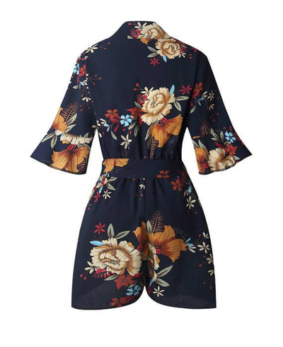 Floral Print V-Neck Ruffles Jumpsuit Loose Rompers