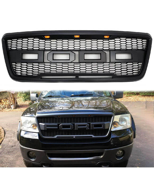 For 2004-2008 Ford F150 Raptor Style Grill with Mesh Hood with LED
