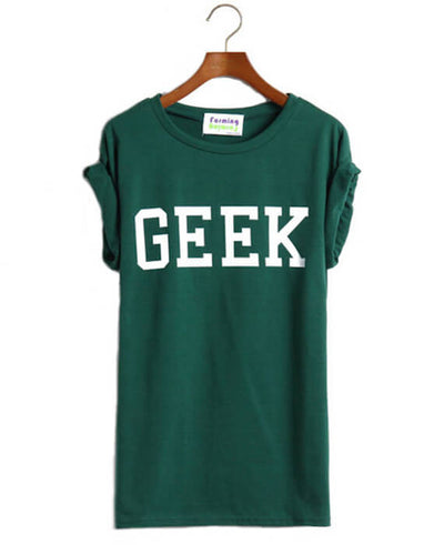 Geek Letter Print Casual O-Neck Slim T-shirts