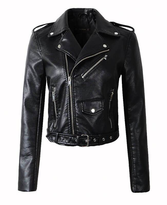 Faux Leather Motorcycle Jacket Women