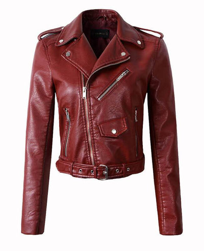 Girls Faux Leather Jacket with Belt