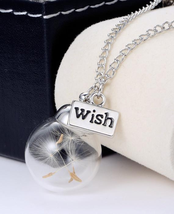 Glass Bottle Necklace Natural Dandelion Necklace