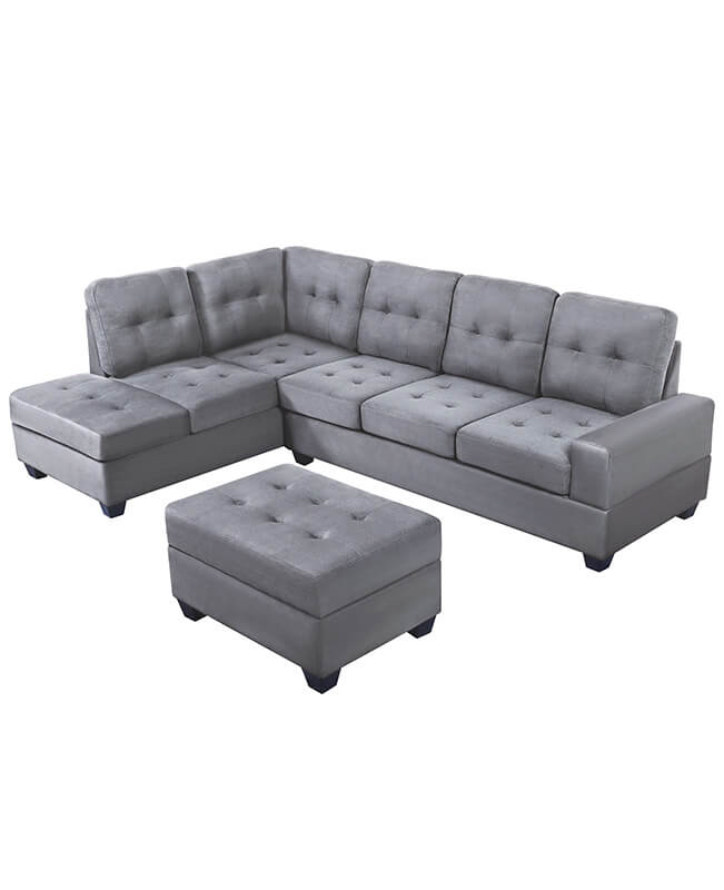 3 Piece Microfiber L Shaped Sectional Sleeper Sofa