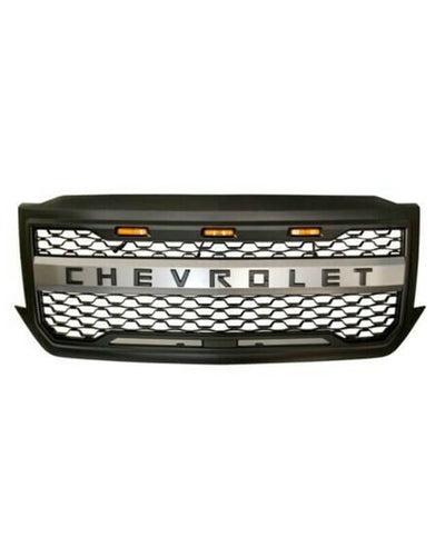 Grille for 2016-2018 Chevhrolet Silverado 1500 Black with Amber Led Lights