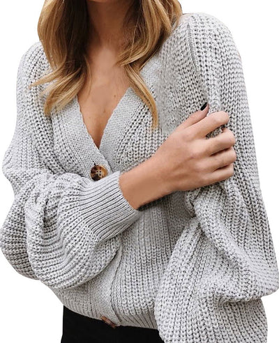 V-Neck Sweater Button Down Long Sleeve Cable Knit Cardigan2