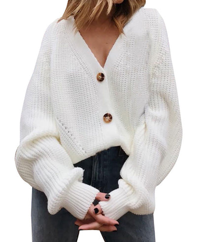 V-Neck Sweater Button Down Long Sleeve Cable Knit Cardigan3