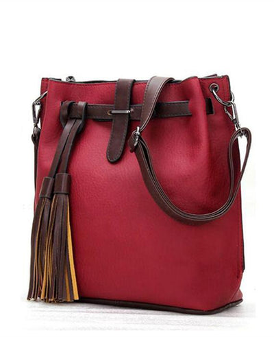 PU Leather Bucket Vintage Shoulder Bags