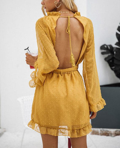 Lace Up Backless Mesh Dress