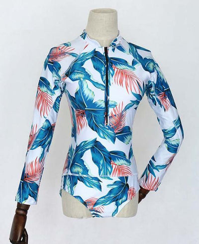 Print Floral One Piece Swimsuit Long Sleeve Swimwear