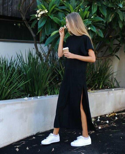Summer Black Side High Slit Long Dress