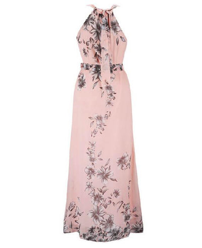 Halter Neck Floral Print Sleeveless Beach Maxi Long Dress-5