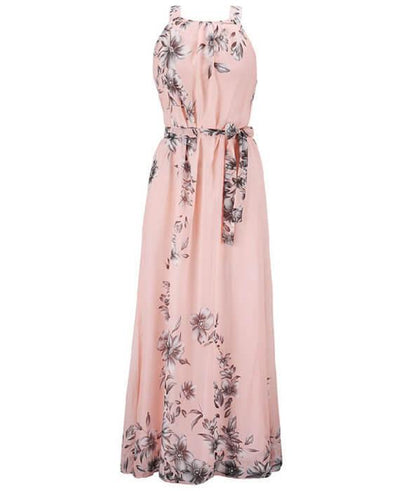 Halter Neck Floral Print Sleeveless Beach Maxi Long Dress-3