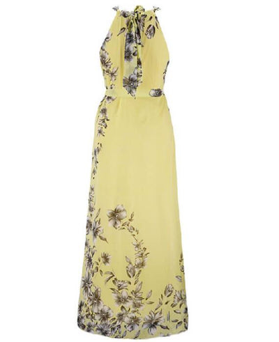 Halter Neck Floral Print Sleeveless Beach Maxi Long Dress-4
