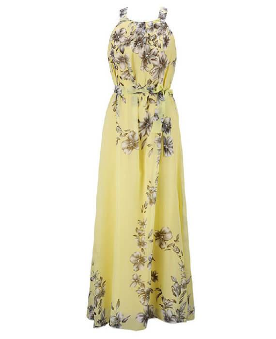 Halter Neck Floral Print Sleeveless Beach Maxi Long Dress-1