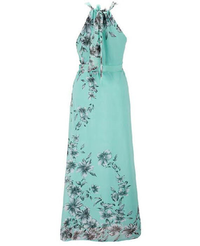 Halter Neck Floral Print Sleeveless Beach Maxi Long Dress-7