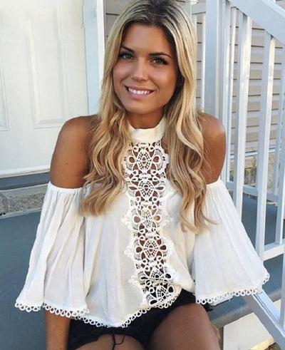 Halter Off Shoulder Lace Blouse Shirt