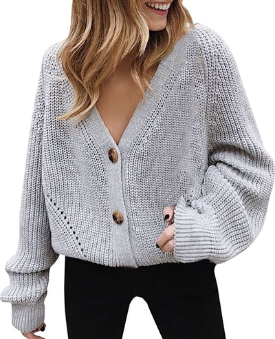 V-Neck Sweater Button Down Long Sleeve Cable Knit Cardigan4