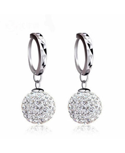 Full Bling Crystal Princess Ball Earrings