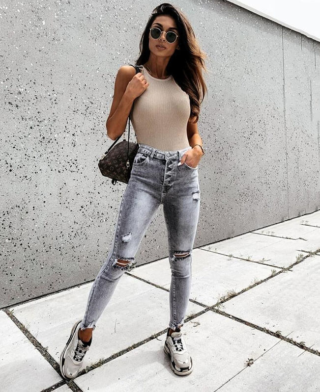 High Waist Stretchable Gray Skinny Jeans