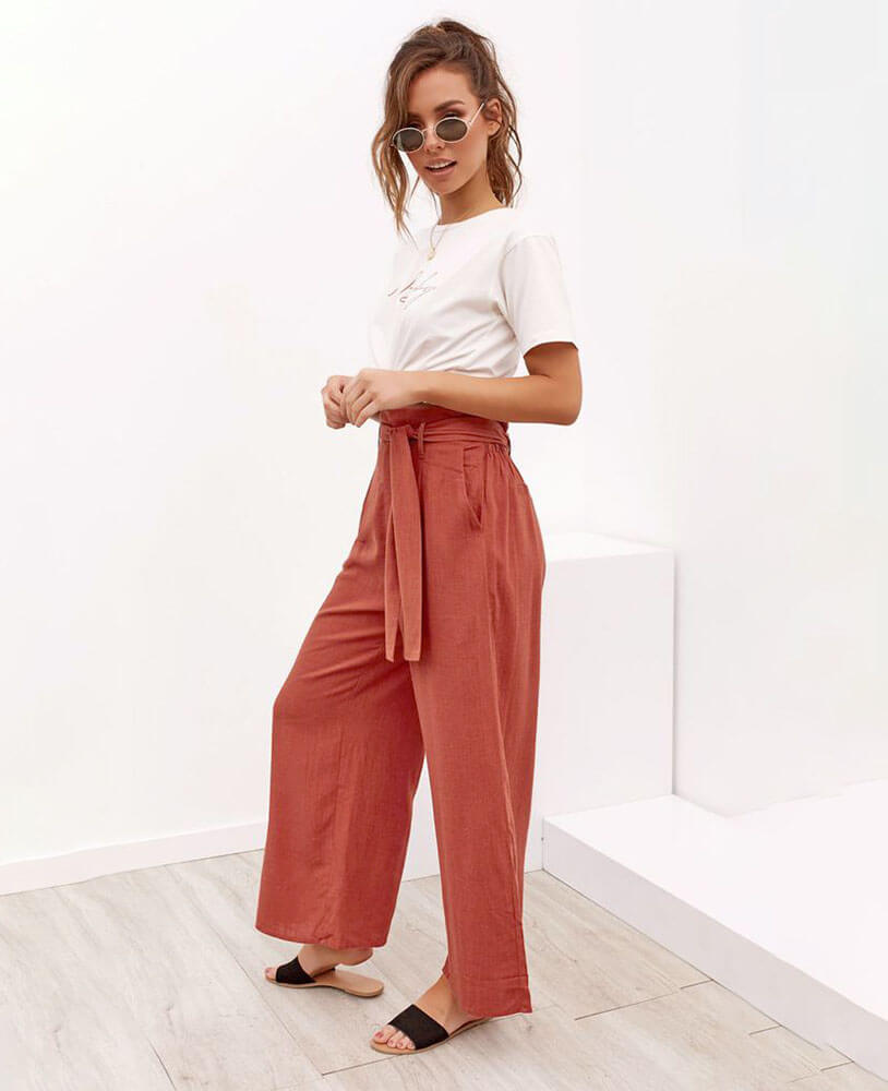 High Waisted Wide Leg Trousers Women