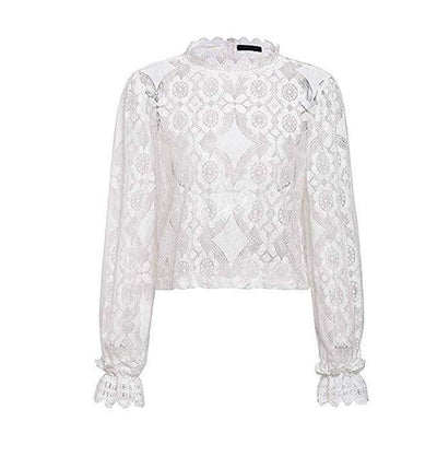 Hollow Out White Lace Top-3