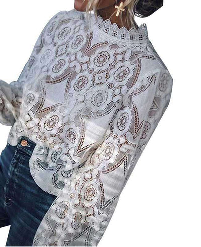 Hollow Out White Lace Top-5