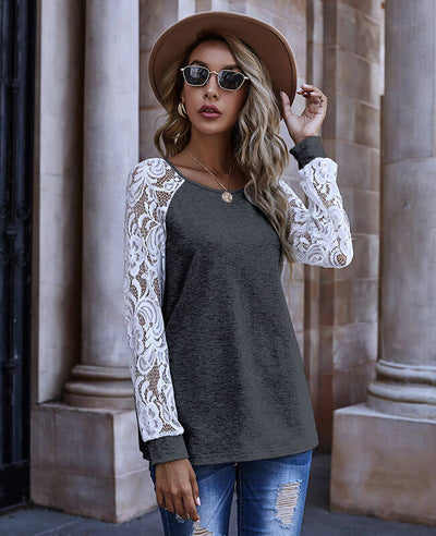 Crew Neck Sweaters For Women With Hollow Lace Sleeve Blouse