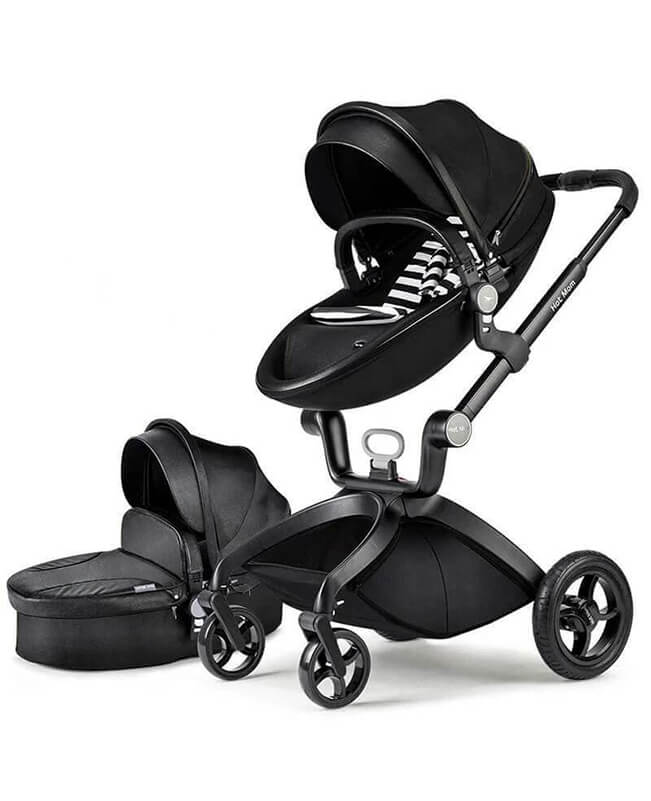 Hot Mom Stroller Bassinet Combo PU Leather Convertible Stroller