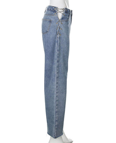 Iron Chain Hollow Out Jeans High Waist Ripped Jeans for Women