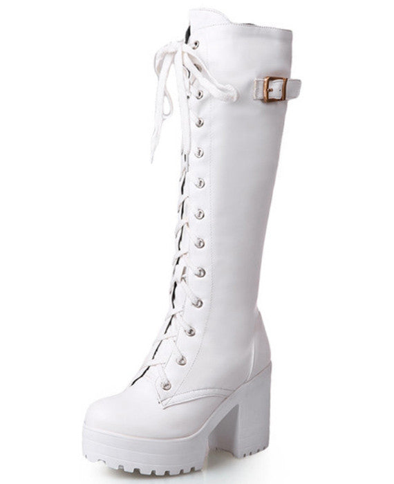 Sexy Lace Up Buckle Thick Platform Fur Snow High Boots