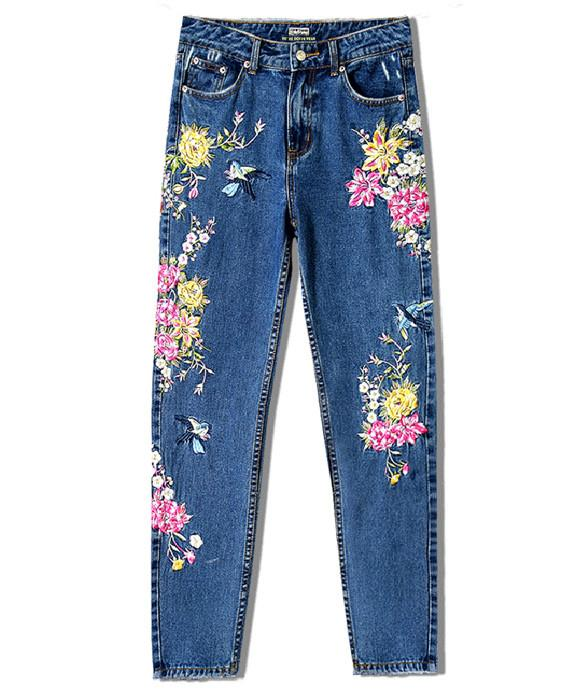 Embroidered Jeans Women Straight Jeans