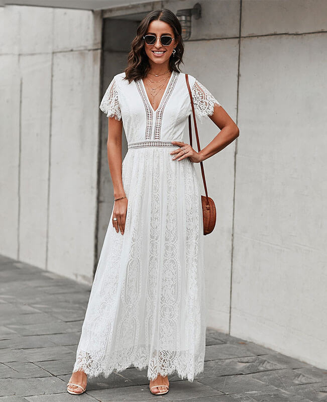 Lace White Boho Maxi Dress Bohemian Wedding Dress