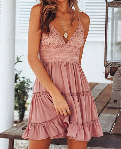 Lace Backless V-neck Sleeveless Mini Sundress