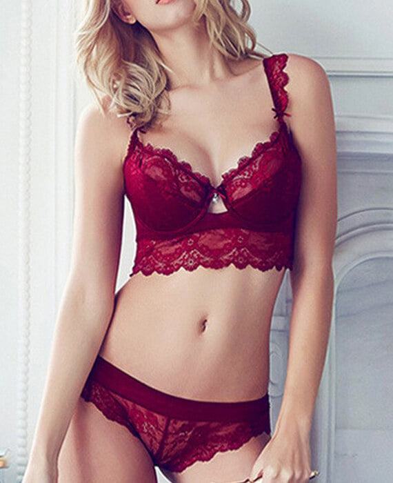 Lace Hollow Out Push Up Bra Sets