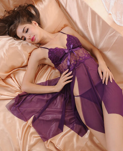 Lace Perspective Side Split Sleepwear