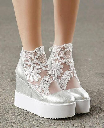 Lace Roman Wedge Heels White Platform Pumps