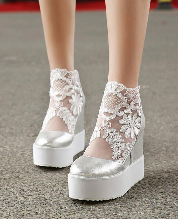 b76748dd0049 Lace Roman Wedge Heels White Platform Pumps