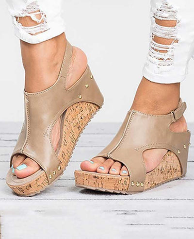 Leather Platform Sandals Wedges