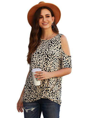 Leopard Print Cold Shoulder Top