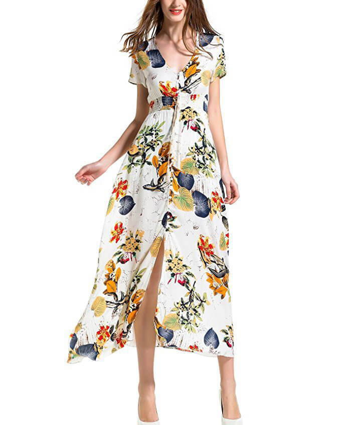 Women's Bohemian Floral Printed V Neck Short Sleeve Maxi Dress