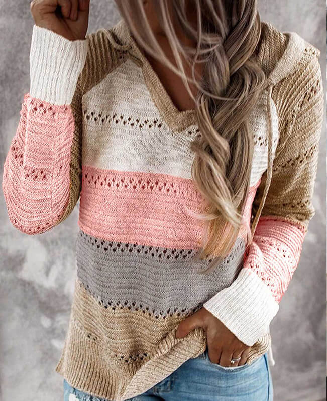 Color Block Hoodie Sweater Hollow Out Striped Sweater