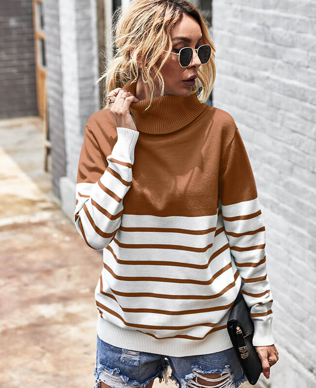 Long Sleeve Stripe Turtlenecks Sweater
