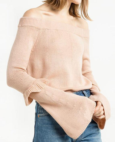 Long Flare Sleeve Ruffles Solid Pink Pullovers
